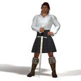 Abitante degli altipiani scozzesi con la spada Fotografia Stock Libera da Diritti