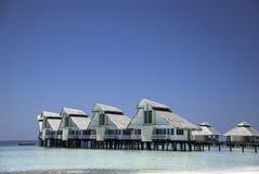 Abitante delle Maldive Waterhuts Immagine Stock Libera da Diritti