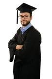 Abito laureato e cappuccio d'uso dello studente isolati su bianco Immagini Stock
