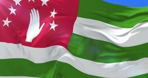 Abjasia señala agitar por medio de una bandera en el viento en lento, lazo