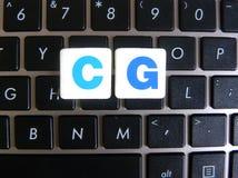 Abkürzung CG auf Tastaturhintergrund Stockbilder