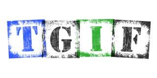 Abkürzung TGIF von den Stempel-Buchstaben, Retro- Schmutz-Design Lizenzfreie Stockbilder