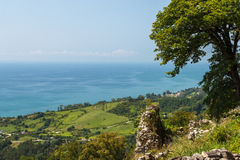 Abkhaz landscape. Abkhazia, New Athos. The view from the Iversky mountain on the black sea coast Royalty Free Stock Photos