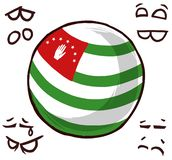 Abkhazia country ball. Cool emotions vector illustration