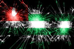 Abkhazia fireworks sparkling flag. New Year, Christmas and National day concept.  vector illustration
