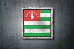 Abkhazia flag in concrete wall. 3d rendering of an Abkhazia flag in a concrete wall vector illustration