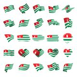 Abkhazia flag, vector illustration. On a white background Royalty Free Stock Images