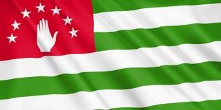 Abkhazia flag waving with the wind. Abkhazia flag waving with the wind, wide format, 3D illustration. 3D rendering Stock Illustration