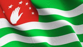 Abkhazia flag waving on wind. Abkhazian background fullscreen flag blowing on wind. Realistic fabric texture on windy day Royalty Free Stock Photos
