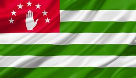 Abkhazia flag waving with the wind , 3D illustration. Abkhazia flag waving with the wind, 3D illustration. 3D rendering Royalty Free Stock Images