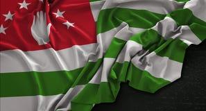Abkhazia Flag Wrinkled On Dark Background 3D Render. Digital Art Vector Illustration