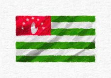 Abkhazia hand painted waving national flag. Abkhazia hand painted waving national flag, oil paint isolated on white canvas, 3D illustration Royalty Free Stock Photos