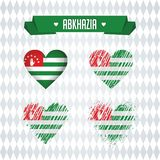 Abkhazia heart with flag inside. Grunge vector graphic symbols. Abkhazia with love. Graphic design heart with map inside, modern vector design stock illustration