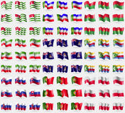 Abkhazia, Khakassia, Burkia Faso, Somaliland, Cayman Islands, Comoros, Slovakia, Protugal, Poland. Big set of 81 flags. Stock Images