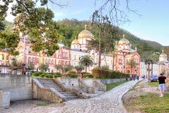 Abkhazia. New Athos Simon the Zealot Monastery. NEW ATHOS, ABKHAZIA - April 26.2015: Complex of buildings of the ancient Christian monastery on Mount Athos Royalty Free Stock Photos