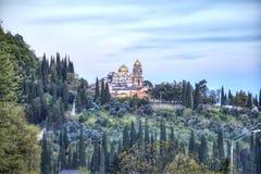 Abkhazia. New Athos Simon the Zealot Monastery. Complex of buildings of the ancient Christian monastery on Mount Athos Stock Photos