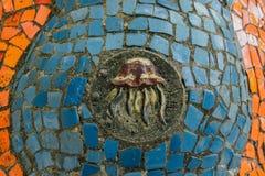 Abkhazia, Stary Gagra, Maj 02, 2017: Tsereteli ` s mozaiki szczegóły w parku Oldenburg Zdjęcia Royalty Free
