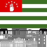 Abkhazia. State flags and architecture of the country. Illustration on white background Royalty Free Stock Photography