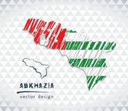 Abkhazia vector map with flag inside isolated on a white background. Sketch chalk hand drawn illustration. Vector sketch map of Abkhazia with flag, hand drawn Vector Illustration