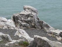 Abkhazia. View of the Black Sea with rocky coast Stock Photos