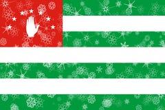 Abkhazia winter snowflakes flag. Background vector illustration