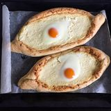 Abkhazian or Georgian national dish Khachapuri royalty free stock photos