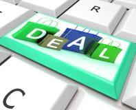 Abkommen auf Computer-Schlüssel zeigt Handel und Förderungen stock abbildung