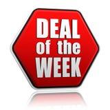 Abkommen der Woche im roten Hexagon stock abbildung