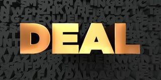 Abkommen - Goldtext auf schwarzem Hintergrund - 3D übertrug freies Bild der Abgabe auf Lager lizenzfreie abbildung