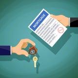 Abkommen mit den Immobilien Zwei Leute halten den Schlüssel und das Dokument lizenzfreie abbildung