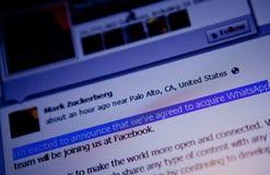 Abkommenmitteilung Mark Zuckerbergs WhatsApp lizenzfreie stockfotos
