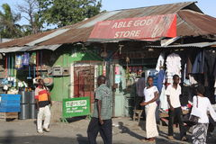 Able God Store. Mombasa. Mombasa, Kenya is a vibrant and lively place. The traffic is very heavy. The market is always busy Royalty Free Stock Photos