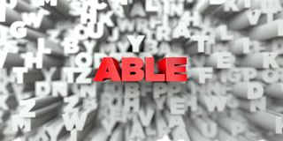 ABLE -  Red text on typography background - 3D rendered royalty free stock image. This image can be used for an online website banner ad or a print postcard Stock Photography