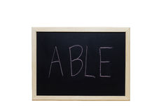 ABLE written with white chalk on blackboard Stock Image