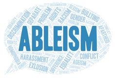 Ableism - typ dyskryminacja - słowo chmura ilustracja wektor