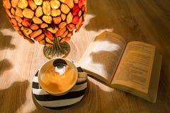 Ablesen am Abend mit etwas Tee lizenzfreies stockfoto