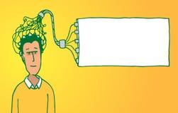 Ablesengedanke des Gerätes des Mannes als Idee oder Gehirnmitteilung Stockbild