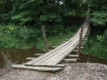 Сableway. Wooden cableway across small river Stock Photos