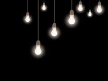 ablichtung Im altem Stil bereifte Glühlampen über Schwarzem stockfotografie