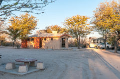 Ablution facilities at the Halali Rest Camp. ETOSHA NATIONAL PARK, NAMIBIA - JUNE 22, 2017: Ablution facilities at the Halali Rest Camp in the Etosha National Stock Image