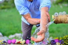 Ablution fountain is located at Human-time of ablution-time of ablution Stock Image