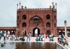 Ablution in Jama Masjid, India's largest mosque Royalty Free Stock Images