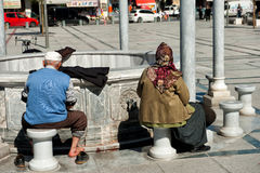 Ablution performing infront of Selimiye mosque in  Royalty Free Stock Images