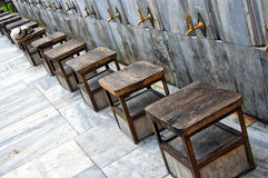 Ablution taps 02. Ablution taps at a mosque in Istanbul where worshippers wash their feet Stock Photography