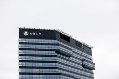 ABLV Bank skyscraper with logo. The European Central Bank has acted to suspend client payments at Latvia`s ABLV bank. Latvia, Riga - February 19.2017: ABLV Bank Royalty Free Stock Photos