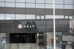 ABLV Bank skyscraper with logo. The European Central Bank has acted to suspend client payments at Latvia`s ABLV bank. Latvia, Riga - February 19.2017: ABLV Bank Stock Photo