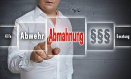 Abmahnung i den tyska förmaningen, försvar, hjälp, rådgivningbegrepp Fotografering för Bildbyråer