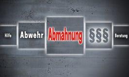 Abmahnung i den tyska förmaningen, försvar, hjälp, rådgivningtouchscr Royaltyfri Bild