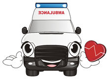 Abmulance car and heartbeat. Happy face of ambulance car hold on his hands a red heart with pulse vector illustration