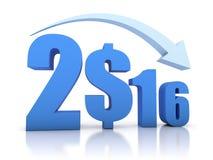 Abnahme 2016 und Dollar mit Pfeil lizenzfreie abbildung